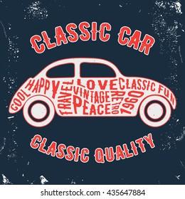 T-shirt print design. Car vintage stamp. Printing and badge applique label t-shirts, jeans, casual wear. Vector illustration.