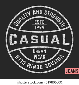 T-shirt print design. Casual vintage stamp. Printing and badge applique label t-shirts, jeans, casual wear. Vector illustration.