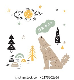 T-shirt print design for kids with Cute Wolf in Night Forest. Cartoon Animal vector illustration. Card, Print or Poster for Children