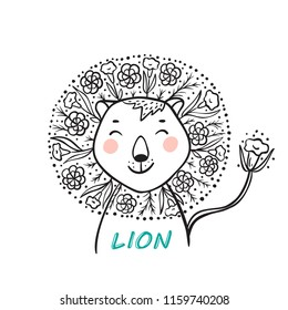 T-shirt print design for kids fashion with Cute Floral Lion. Hand drawn doodle Lion Head with Flower Mane. Summer card. Cartoon Animal vector illustration. Print or Poster for Children