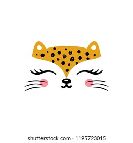 T-shirt print design for kids with little cute leopard cat. Doodle kitten face. Cartoon Animal vector illustration. Scandinavian print or poster design, Baby shower greeting card.