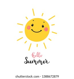 """T-shirt Print Design for Kids with Little Cute Smiling Sun Icon and """"Hello Summer"""" Word. Cartoon Doodle Funny Sun Face Vector Illustration. Scandinavian print or poster design, Baby shower"""