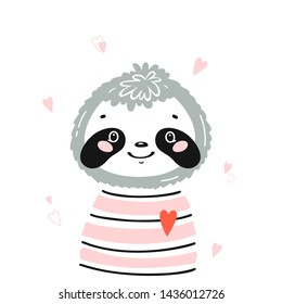 T-shirt Print Design for Kids with Little Cute Sloth Head with Hearts. Sloth Face. Doodle Cartoon Kawaii Animal Vector Illustration. Scandinavian Print or Poster Design, Baby Shower Greeting Card