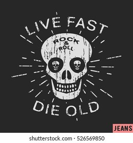 T-shirt print design. Rock and roll skull vintage stamp. Printing and badge applique label t-shirts, jeans, casual wear. Vector illustration