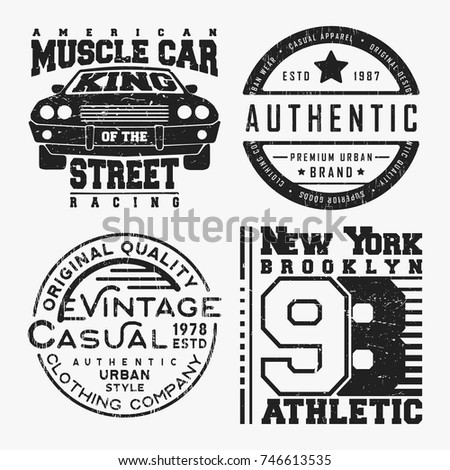 0e4fa020 T-shirt print design. Set of various vintage t shirt stamp. Printing and