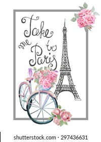 Фотообои T-shirt print design with sign TAKE ME TO PARIS. Hand drawn Eiffel tower, watercolor retro bicycle and roses.