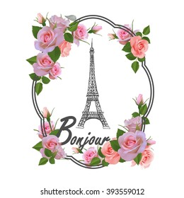 T-shirt print design with slogan Hello. Hand drawn Eiffel tower, frame and pink roses.Paris and flowers