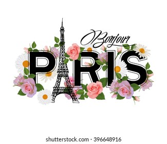 T-shirt print design with slogan Hello Paris. Hand drawn Eiffel tower, frame and pink roses.Paris and flowers.