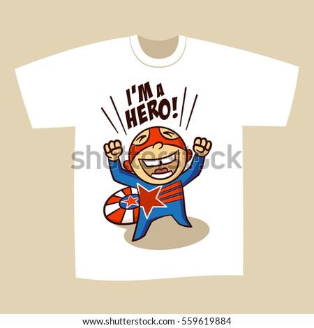 f0e13ca7 Tshirt Print Design Superhero Vector Illustration Stock Vector ...