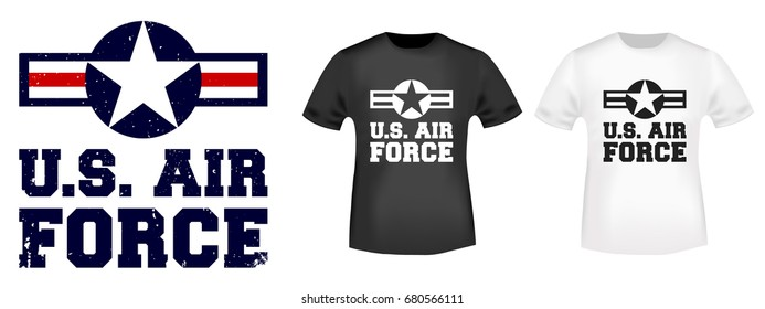 21f212819 T-shirt print design. U.S. Air Force vintage tshirt stamp. Printing and  badge