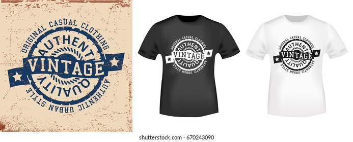 T-shirt print design. Vintage stamp and t shirt mockup . Printing and badge applique label t-shirts, jeans, casual wear. Vector illustration.