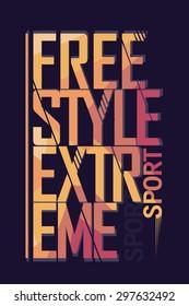 Tshirt Print, Extreme sport freestyle, Typography sport print label, skateboarding sport print emblem, surfing t-shirt sport print design, snowboarding sport print graphic, tee print - vector