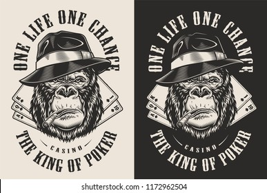 T-shirt print with gangster gorilla concept in fedora hat. Vector illustration