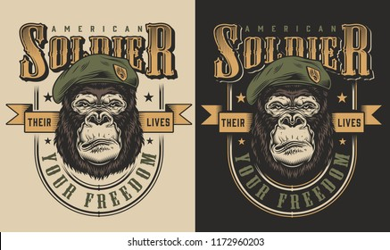 T-shirt print with gorilla soldier concept. Vector illustration