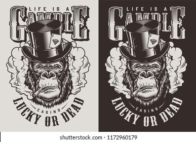 T-shirt print with gorilla in top hat, casino concept. Vector illustration