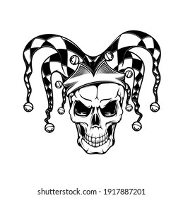 Tshirt print with joker skull, vector mascot for apparel design. T shirt print, tattoo monochrome grin cranium in fool checkered headdress with bells, isolated black emblem, label on white background