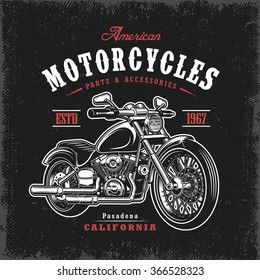 T-shirt print with motorcycle on dark background and grunge texture