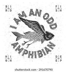 "T-shirt print with mythological flying fish and slogan ""I am an odd amphibian"""