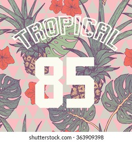 T-shirt print with numbers and tropical background