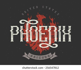 T-Shirt print. Phoenix city, state Arizona. United States.