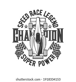 Tshirt print with retro bolide car for race club vector apparel design. Rally championship team t shirt print with roadster vehicle and typography, racing grunge emblem isolated on white background