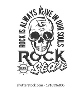 Tshirt print with skull pierced with bolt of lightning, mascot apparel vector design. T shirt print for hard rock club with typography, emblem for music concert and heavy metal band festival label