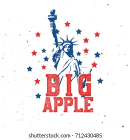 T-shirt print with statue of Liberty, New York (Big Apple) themed graphic design