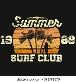 t-shirt print summer vector surf club sunshine design