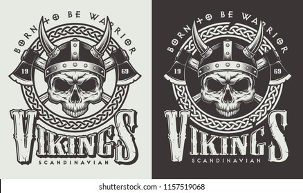 T-shirt print with viking head in vintage style. Vector illustration