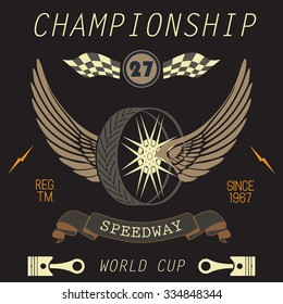 T-shirt Printing design, typography graphics, Speedway championship word cup series vector illustration Badge Applique Label.