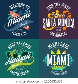 T-shirt prints for surfers with USA places. Signs for Los Angeles and Hawaii, Miami and Santa Monica tourists. Advertisements with surfer boards and waves for ocean summer vacations
