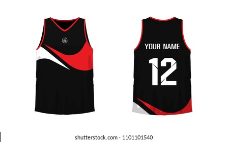 e634953aba7 T-shirt red and black basketball or football template for team club on  white background