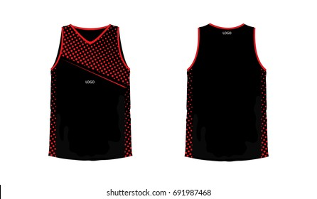 T-shirt red and black basketball or football template for team club on white background. Jersey sport, vector illustration eps 10.