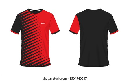 T-shirt red and black soccer or football template for team club on white background. Jersey sport, vector illustration eps 10.