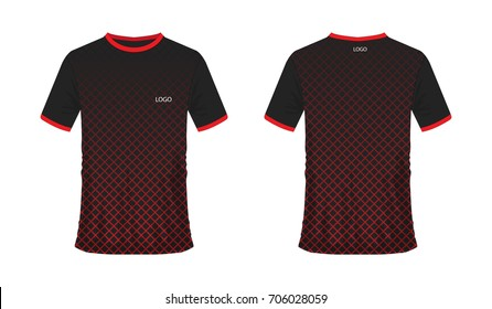 b5278e9fc08 T-shirt red and black soccer or football template for Team club on white  background
