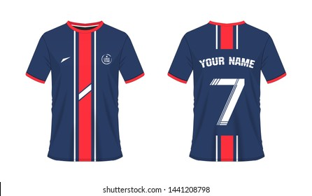 T-shirt red and blue soccer or football template for team club on white background. Jersey number sport, vector illustration eps 10.
