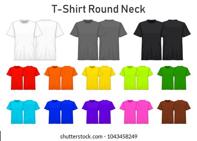 T-Shirt round neck color collection set for your design , mockup advertising , blank for printing , vector illustration , white black grey red orange yellow green blue purple pink brown color
