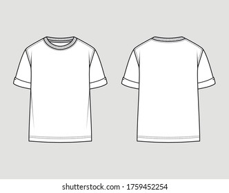 T-shirt round neck. Oversize fit, rolled up sleeve. Vector technical sketch