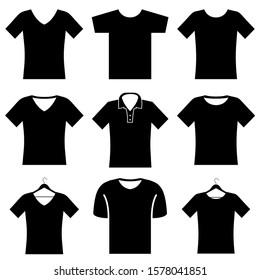 T-shirt set icons, logo isolated on white background. T-shirt with V-neck, on the hanger, Polo