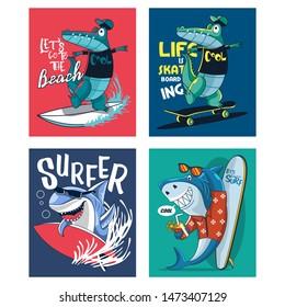 tshirt shark and alligator design for kids set