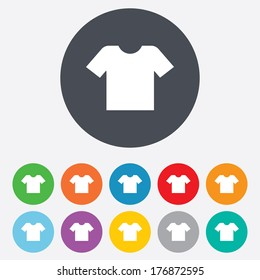 T-shirt sign icon. Clothes symbol. Round colourful 11 buttons. Vector