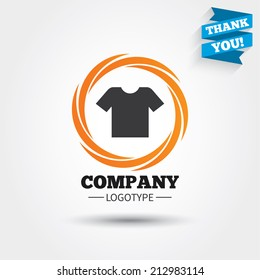 T-shirt sign icon. Clothes symbol. Business abstract circle logo. Logotype with Thank you ribbon. Vector