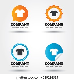 T-shirt sign icon. Clothes symbol. Business abstract circle logos. Icon in speech bubble, wreath. Vector