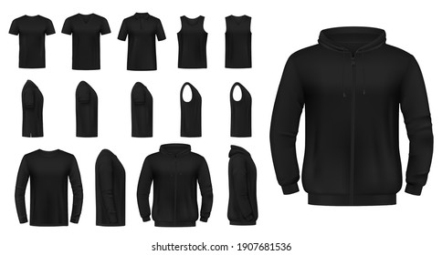 T-shirt, singlet and pullover, hoodie mockup. Black crew and v-neck tee shirts, long and short sleeves pullover and sweatshirt 3d realistic vectors. Mens casual clothing front and side view templates