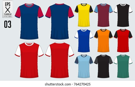 T-shirt sport design for soccer jersey, football kit, sport uniform template. Football t-shirt mock up. Front and back view soccer shirt. Vector Illustration.