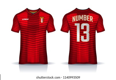 t-shirt sport design template, Soccer jersey mockup, uniform front and back view.