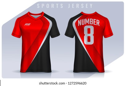 8107301590d t-shirt sport design template, Soccer jersey mockup for football club.  uniform front