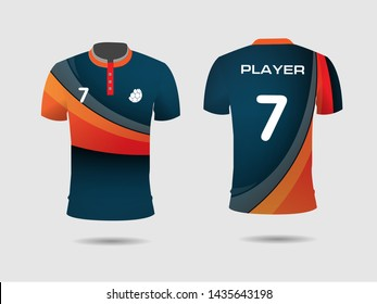 T-shirt sport design template, Soccer jersey mock up for football club. uniform front and back view.