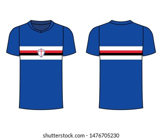 t-shirt sport design template, Soccer jersey mockup for football club. uniform front and back view. Blue, white, red and black.