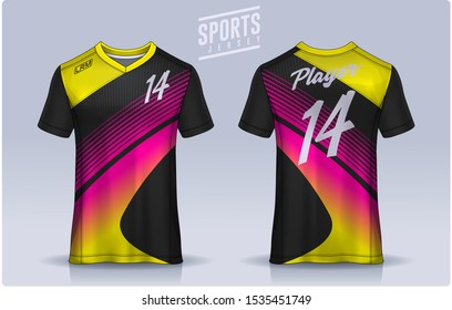 t-shirt sport design template, Soccer jersey mockup for football club. uniform front and back view.